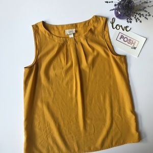 Ann Taylor LOFT Mustard Yellow Sleeveless Blouse